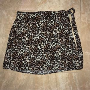 Kendall and Kylie Leopard Print Warp Skirt